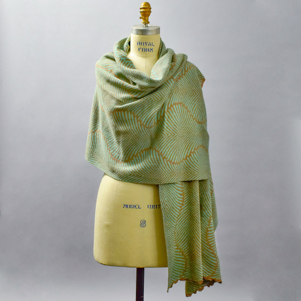 Cotton Shawl Fern Aqua & Pebble on mannequin