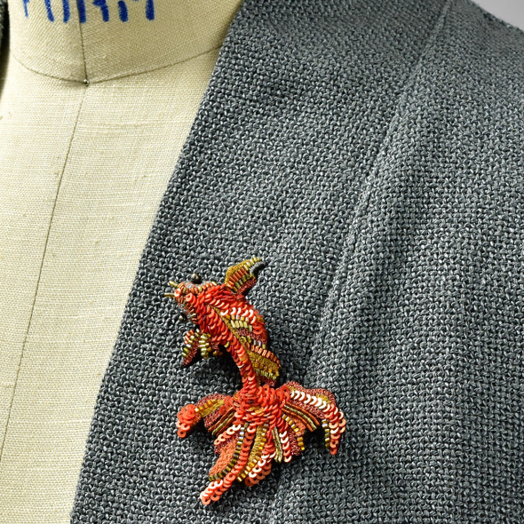 Embroidered & Beaded Koi Fish Pin
