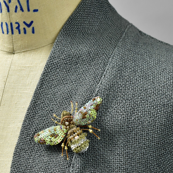Beaded Pearl Bee Pin, on clothing