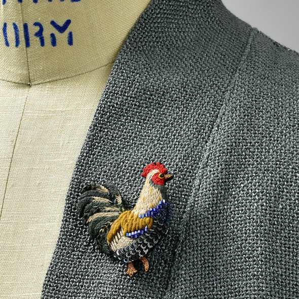 Embroidered & Beaded Rooster Pin, on clothing