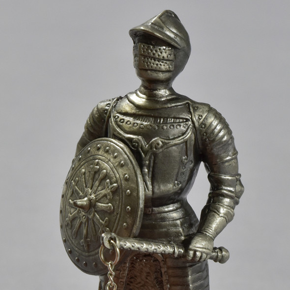 Knight in Armor with Rondache and Spiked Flail Reproduction, close up