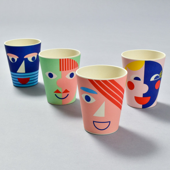 Bamboo Face Cups, blue, green, coral, and yellow (sold separately)