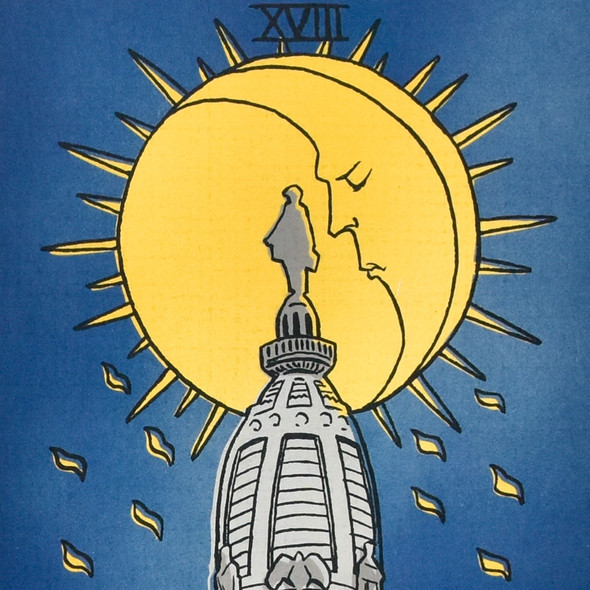 "The Moon: City Hall Philly Tarot Deck Print 8"" x 10"" by James Boyle, close up"
