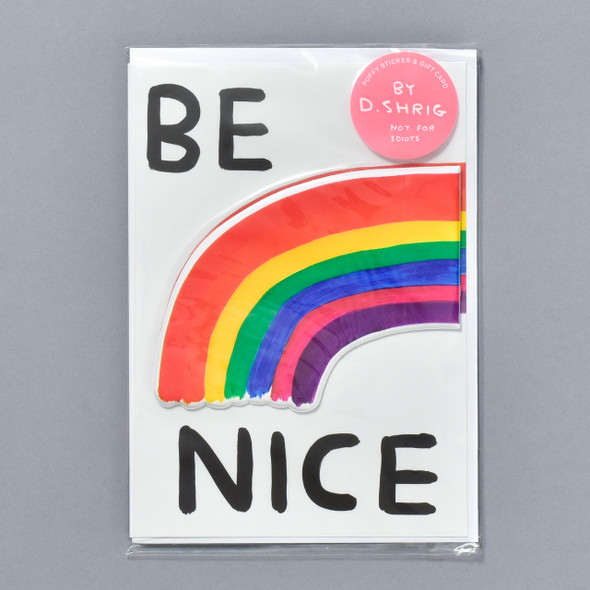 Be Nice Puffy Sticker Card
