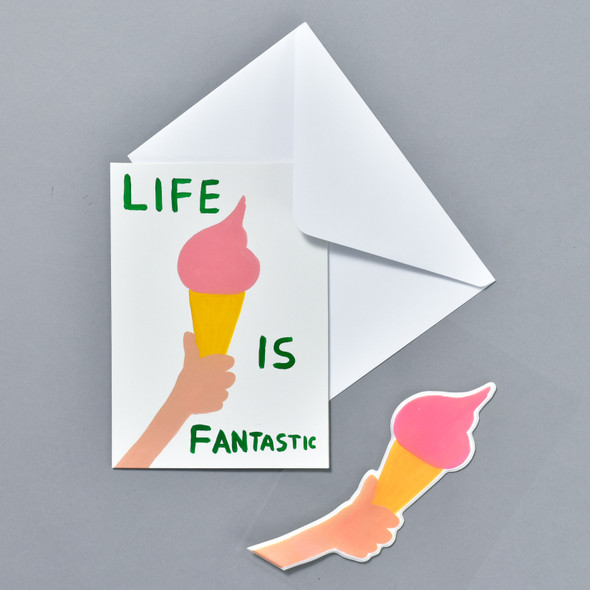 Life Is Fantastic Puffy Sticker Card shown with envelope