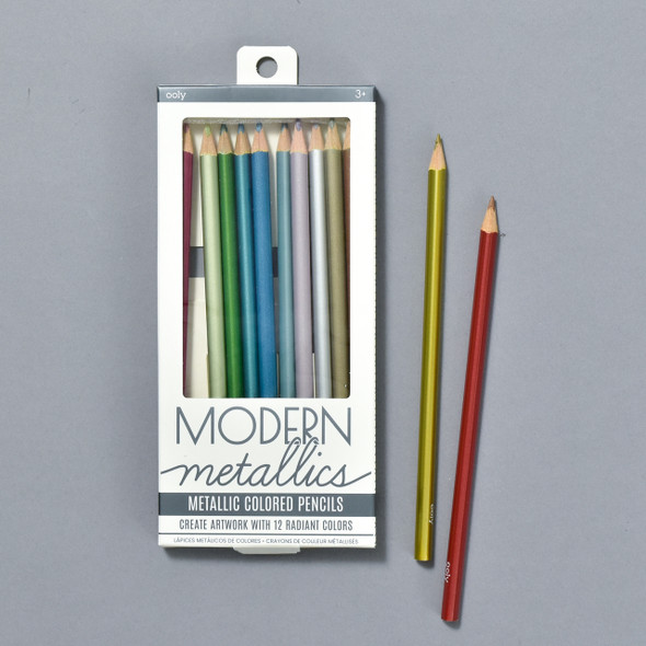 Modern Metallics Color Pencils, box and pencils