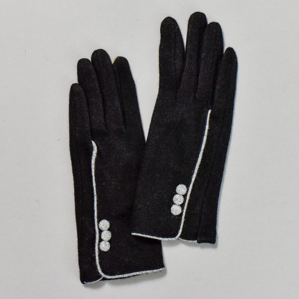3 Button Black Wool Blend Gloves, backs