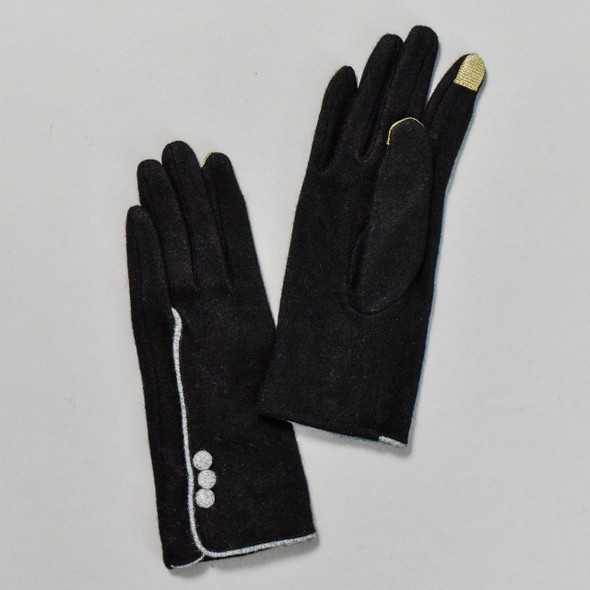 3 Button Black Wool Blend Gloves