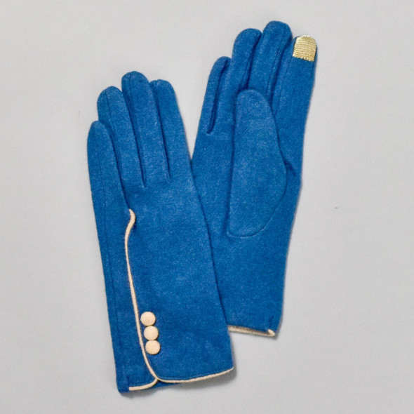 3 Button Teal Wool Blend Gloves