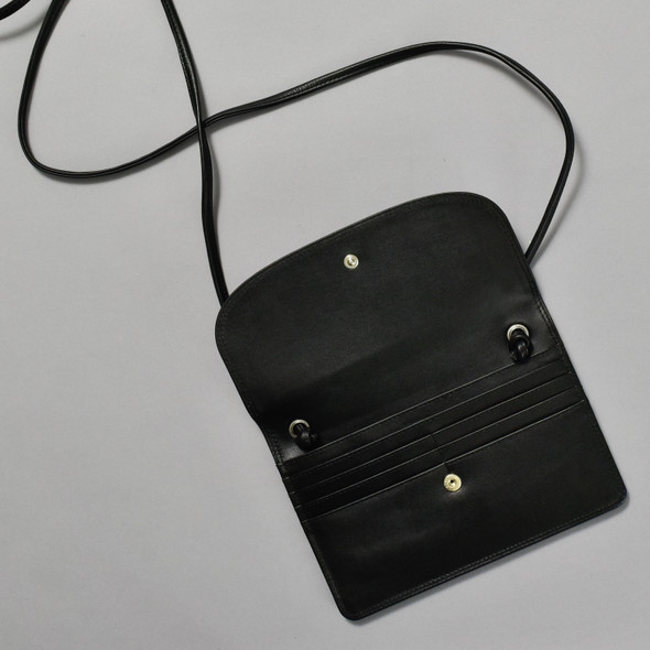 Black Leather Crossbody Purse, open