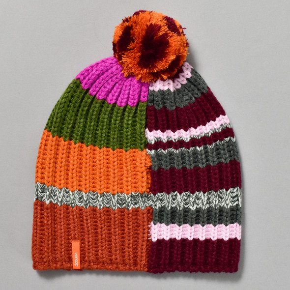 Patchwork Knit Pom Hat Wine