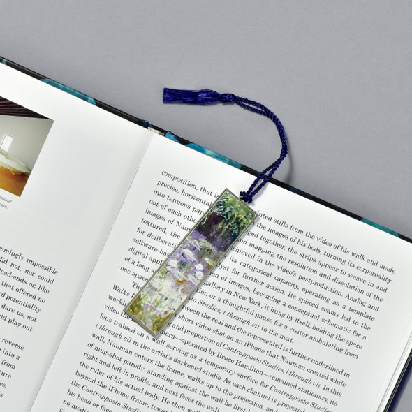 Monet Water Lilies Bookmark, in book