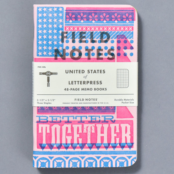 United States of Letterpress Notebooks B (Set of 3), front of pack