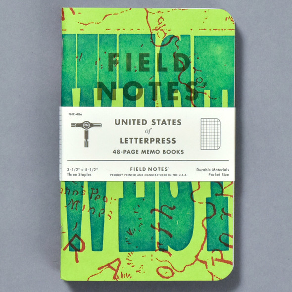 United States of Letterpress Notebooks A (Set of 3), front of pack