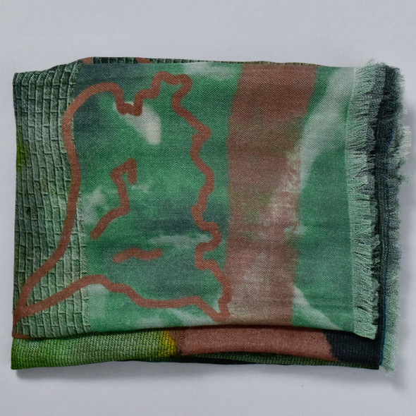 Purpose Olive Merino Wool Scarf, folded