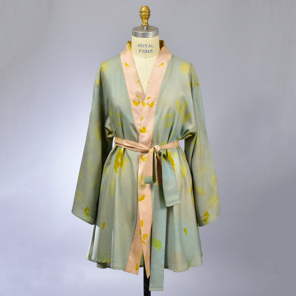 Hand Dyed Silk Dress Kimono with Sash, showing front, on mannequin