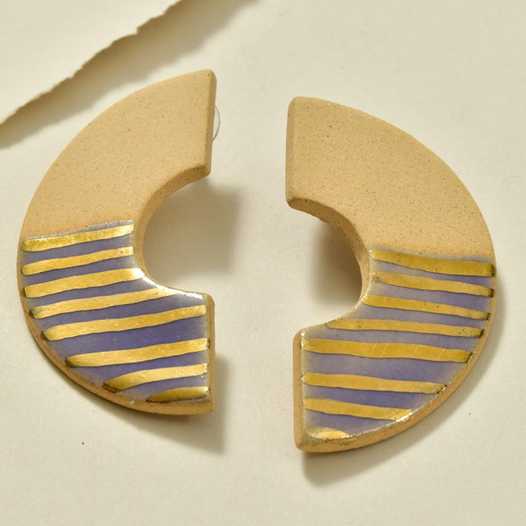 C Shaped Earrings with Gold Luster