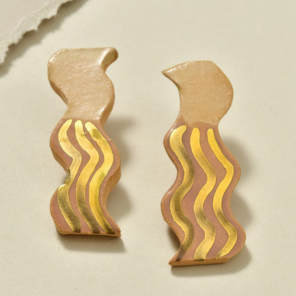 Striped Wavy Earrings by Curious Clay