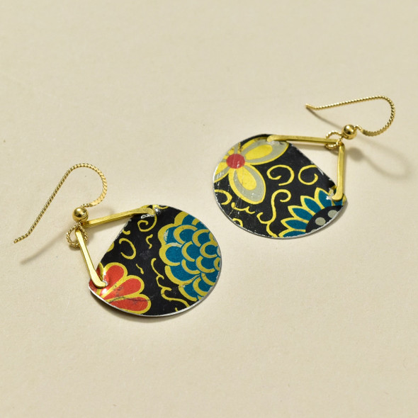 Vintage Tin Black Floral Earrings