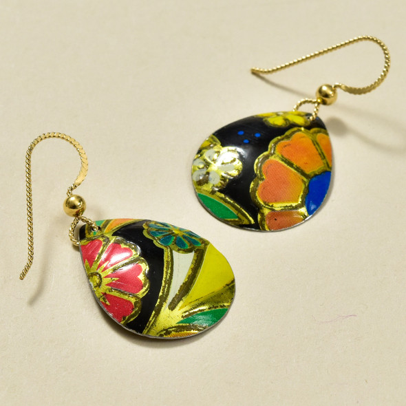 Vintage Tin Black Floral Teardrop Earrings