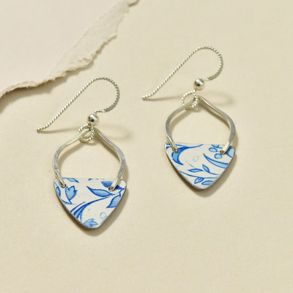 Vintage Tin Blue & White Curvy Earrings