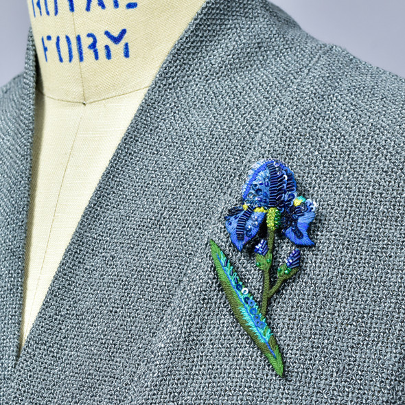 Embroidered & Beaded Wild Iris Pin, on clothing
