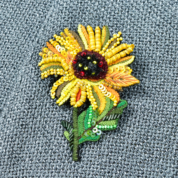 Embroidered and Beaded Sunflower Pin, close up