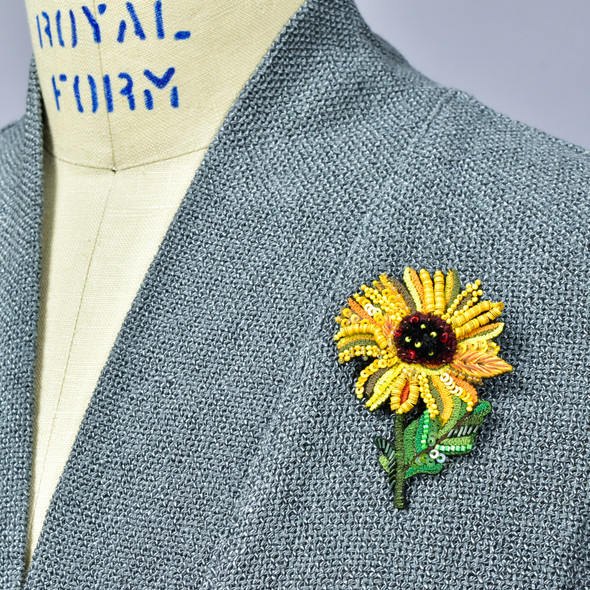 Embroidered and Beaded Sunflower Pin, on clothing