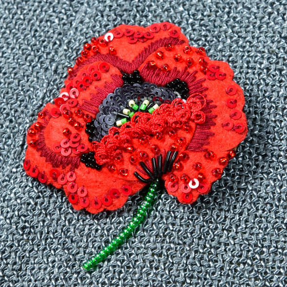 Embroidered and Beaded Red Poppy Pin, close up