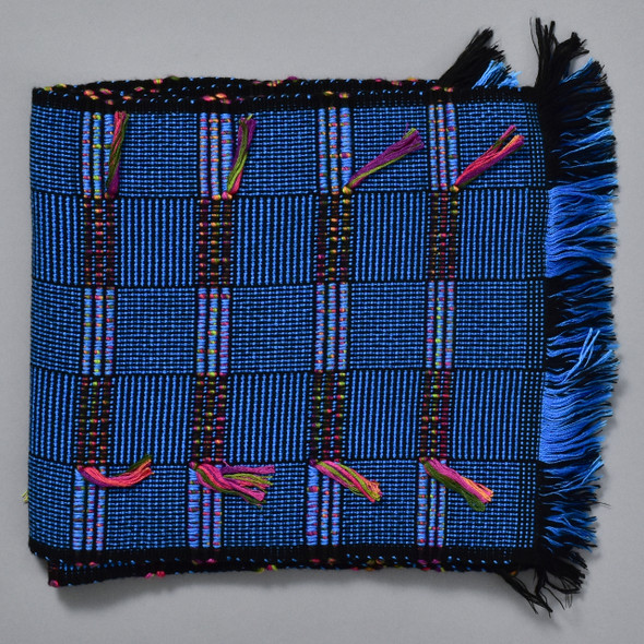 Bright Blue Bamboo Scarf with Multicolor Tassels, folded