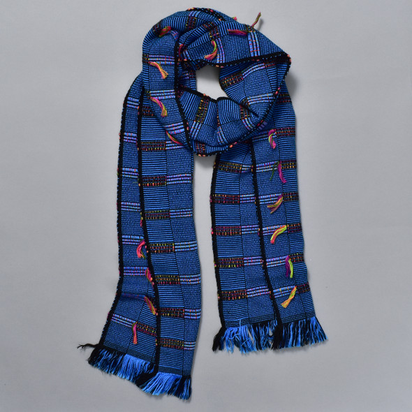 Bright Blue Bamboo Scarf with Multicolor Tassels