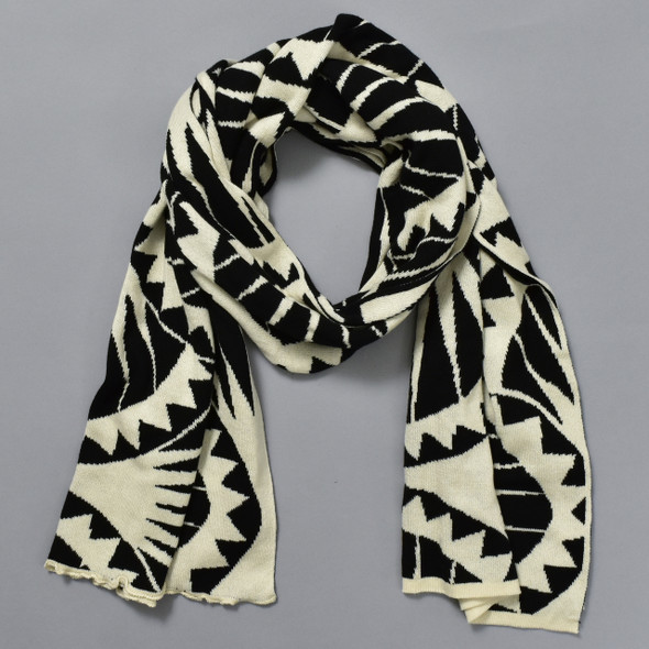 Cotton Shawl Sea Urchin Black & Cream