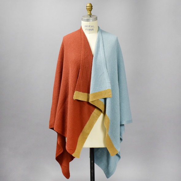 Pale Blue and Rust Colorblock Wrap, on mannequin