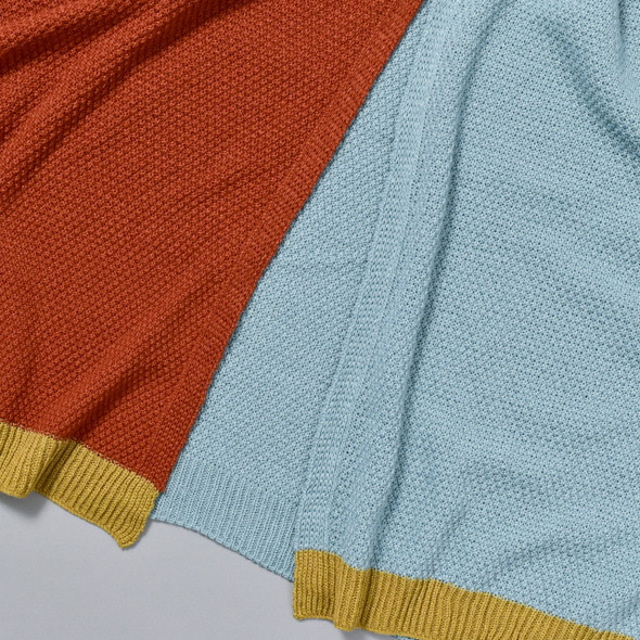 Pale Blue and Rust Colorblock Wrap, close up