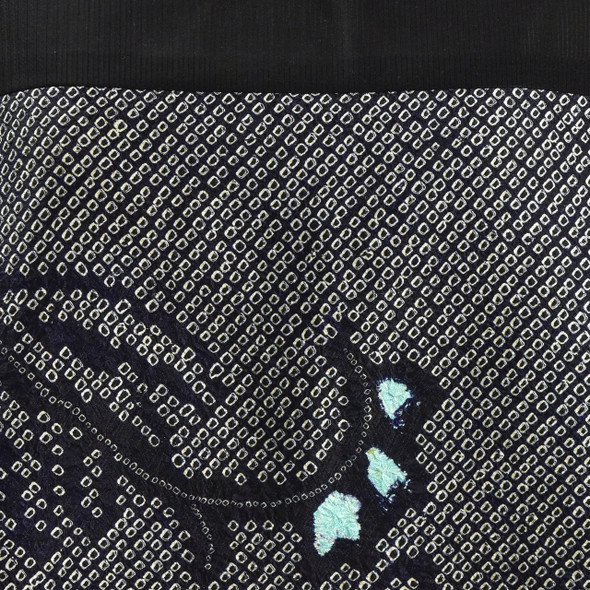 One Of A Kind Black with Teal Accent Shibori Blouse, close up