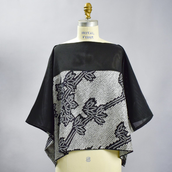 One Of A Kind Black & White Shibori Blouse, showing front, on mannequin