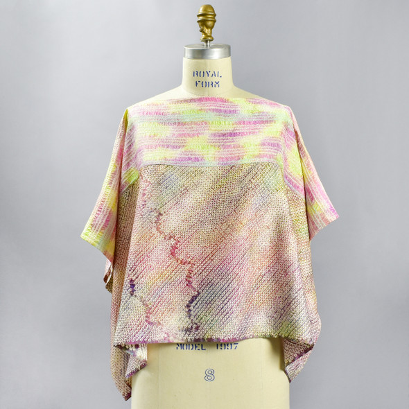 One Of A Kind Pastel Multi Shibori Blouse, showing front, on mannequin
