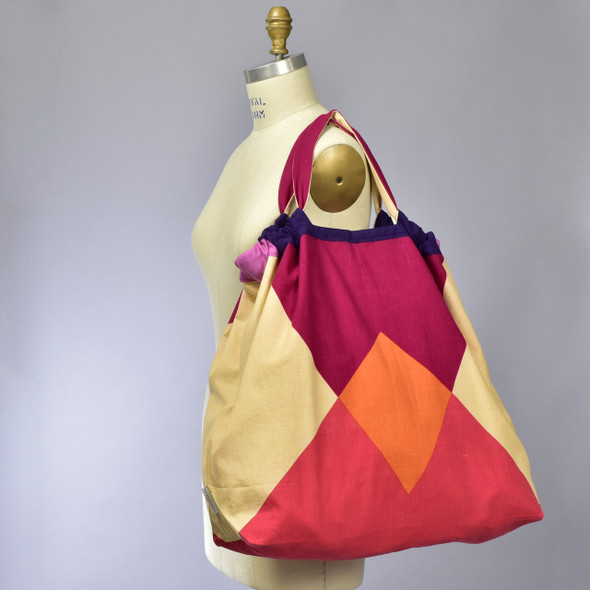 Heartmade Red & Purple Large Geometric Tote, on mannequin