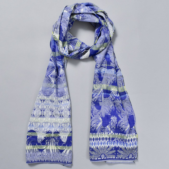 Organic French Jacquard Scarf: Bright Blue