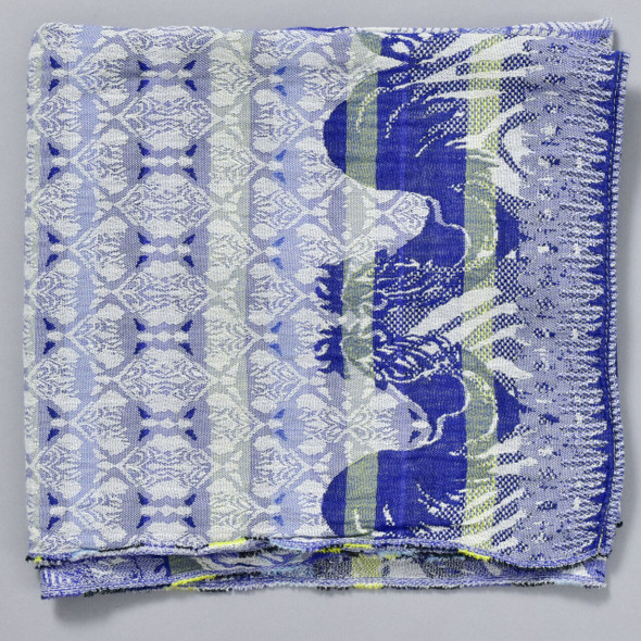 Organic French Jacquard Scarf: Bright Blue, folded