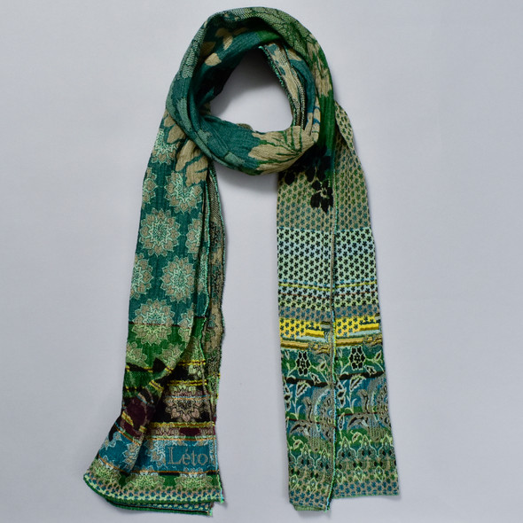 Organic French Jacquard Scarf: Hunter Green