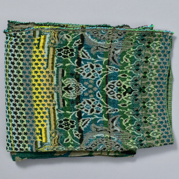 Organic French Jacquard Scarf: Hunter Green, folded