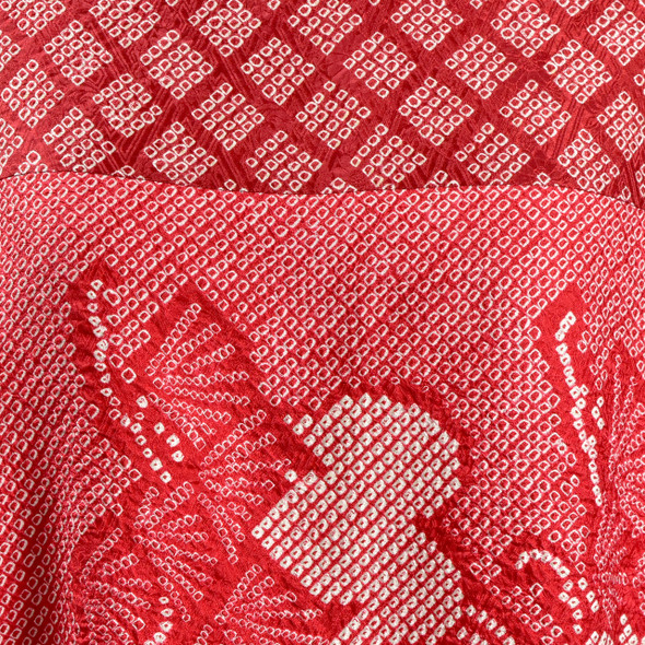 One Of A Kind Red Shibori Blouse, close up