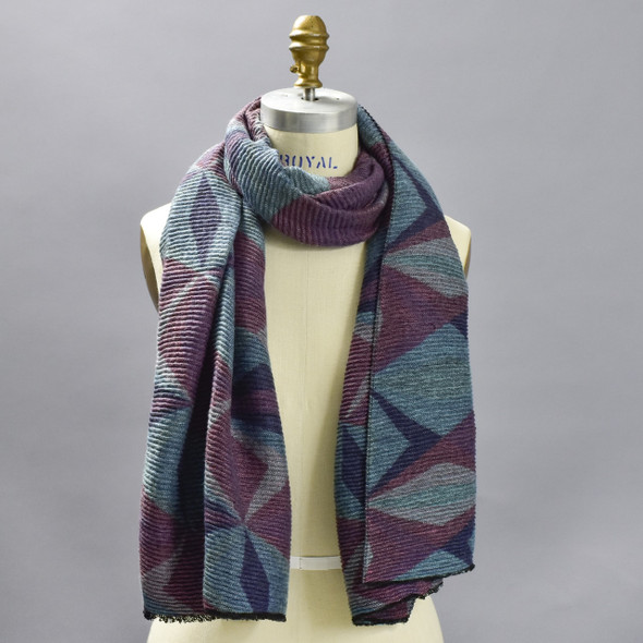 Abstract Blue Diamonds Scarf on mannequin