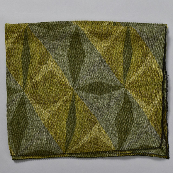 Abstract Olive Diamonds Scarf, folded