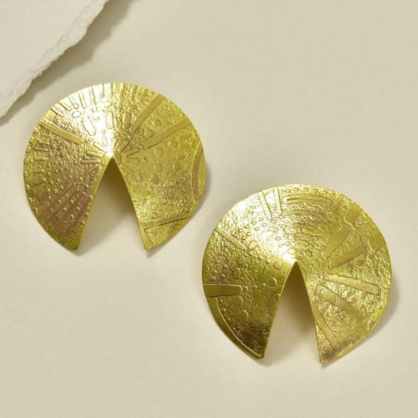 Etched Wonton Bronze Earrings