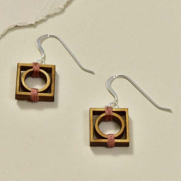 Circle in Square Wood Earrings by Emaye Design
