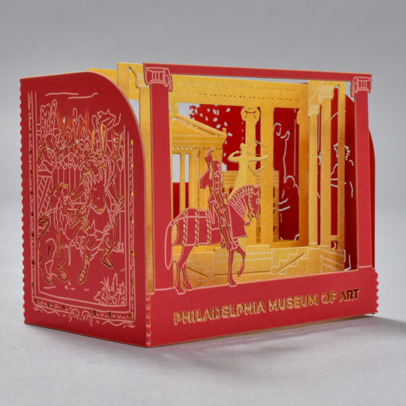 Front and side of Philadelphia Museum of Art Pop Up Card