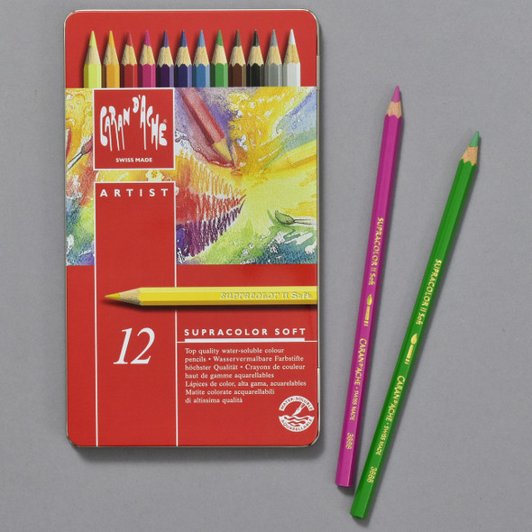 Caran d'Ache Supracolor Soft Watercolor Pencil Set, tin and pencils