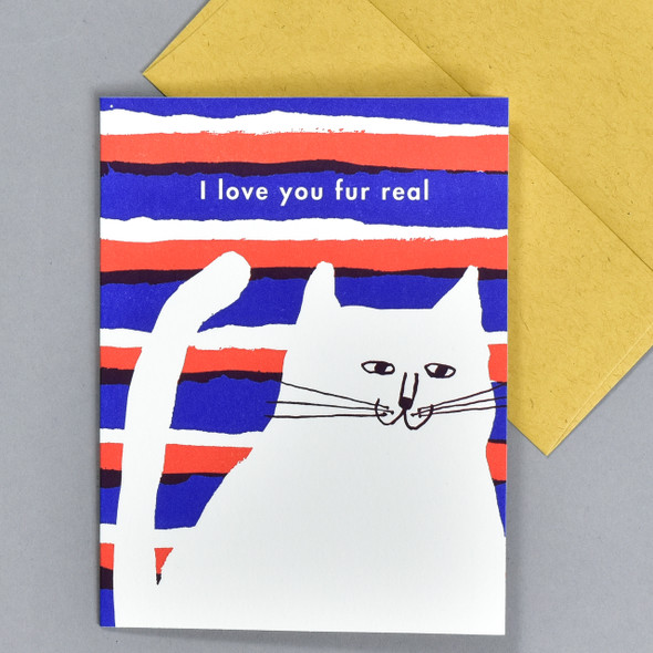Love You Fur Real Notecard, front, with envelope